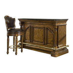 Pulaski - Accents Bar Cabinet with Barstool - Laminated granite top cabinet
