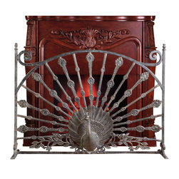 """SPI - Peacock Fireplace Screen - -Size: 32"""" H x 33"""" W x 12.5"""" D"""