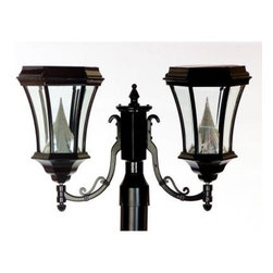 """Gama Sonic - Gama Sonic Outdoor Lighting. 15 in. Victorian Solar Lamp with 6 Solar LED Bulbs, - Shop for Lighting & Fans at The Home Depot. This Victorian style solar post lamp is crafted from durable cast aluminum. Its patented technology allows the light to shine brighter and cover a larger area then most conventional solar lights. The light will shine 8-10 hours on a full charge. It has 8 super bright white LED bulbs and beveled glass sides. Automatic dusk to dawn operation and includes bolts and anchors for wall or column mounting. It comes complete with a mounting bracket to mount on any existing 3 in. lamp post. A great replacement for those expensive gas or electric lamp post lights. This is a perfect """"Green"""" way to illuminate your walkway or patio."""