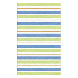 Custom Cool - Hamptons Stripe Rug 3x5 Cotton Kilim Mint Green, Blue, Cream & Golden Brown - The Hampton Stripe pattern is paired with soothing tones of greens, blues and browns to create a delightful rug that is both elegant and easy on the eye. Hand stitched binding and slightly irregular edges give this rug a casual and relaxed feel.  Hand crafted by master weavers utilizing techniques passed on through the ages, this stonewashed Cotton Kilim rug has a casual sophistication and informal charm.
