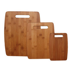 "Totally Bamboo 3 Piece Cutting Board Set - The Totally Bamboo 3 piece cutting board set features a board for any job.  These slim boards are perfect for any cutting task  use the large one for vegetables and fruits to prepare a salad  while the medium can be used for fish  chicken  beef  and more.  The small size is perfect for cutting fruit garnishes for cocktails or other beverages.Product Features                        Large Board - 15 x 12 x 3/8 ""es            Medium Board - 12 x 8.75 x 3/8 ""es            Small Board - 9 x 6 x 3/8 ""es"