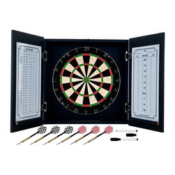 Trademark Games - Black Laminate Dart Cabinet Set - Dartboard Features:. Self Healing Sisal Fiber. Removable Number Ring. Official 18 Inch Diameter. Includes 6 Steel Tip Darts  . Cabinet Features:. Black Laminated MDF. Metal Hinges. Interior Door Mounted Dry Erase Scoreboard and Outchart. 2 Magnetic Markers with Erasers. . 3.5 in. L x 19.5 in. W x 20 in. H (26 lbs.)Bring the game to your game room, garage or collection with an officially licensed beveled wood dart cabinet. Enjoy competition among friends while pre-gaming, during halftime, or at the after party . The officially licensed beveled wood dart cabinet comes with everything you need for a great game. It includes a high quality, self healing sisal fiber dartboard, six steel tipped darts, dry-erase scoreboard, out chart, marker and mounting supplies. With an officially licensed beveled wood dart cabinet you're guaranteed to have fun no matter what the score!