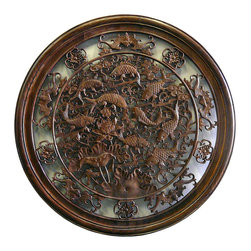 Golden Lotus - Chinese Round Fishes Wooden Wall Plaque Decor - This is a Round wooden wall decor with center Chinese Fishes theme.