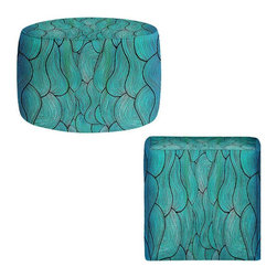 DiaNoche Designs - Sea Waves Pattern Ottoman - Lightweight, artistic, bean bag style Ottomans. Coming in 2 square sizes and 1 round, you now have a unique place put rest your legs or tush after a long day! Artist print on all sides. Dye Sublimation printing adheres the ink to the material for long life and durability. Printed top, khaki colored bottom. Machine washable. Product may vary slightly from image.