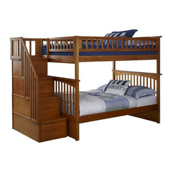 Atlantic Furniture - Columbia Staircase Bunk Bed Full Over Full / Caramel Latte - The Columbia bunk bed has a built in modesty panel and can accommodate under bed storage drawers or a trundle. With its 26 steel reinforcement points and two 14 piece slat kits, this bed is as sturdy as they come. Staircase drawers ship fully assembled with English dovetail construction and full extension ball bearing drawer glides.