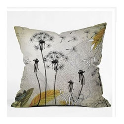 "DENY Designs - Iveta Abolina Little Dandelion Throw Pillow - Wanna transform a serious room into a fun, inviting space? Looking to complete a room full of solids with a unique print? Need to add a pop of color to your dull, lackluster space? Accomplish all of the above with one simple, yet powerful home accessory we like to call the DENY Throw Pillow! Features: -Iveta Abolina collection. -Material: Woven polyester. -Sealed closure. -Spot treatment with mild detergent. -Made in the USA. -Closure: Concealed zipper with bun insert. -Top and back color: Print. -Small dimensions: 16"" H x 16"" W x 4"" D, 3 lbs. -Medium dimensions: 18"" H x 18"" W x 5"" D, 3 lbs. -Large dimensions: 20"" H x 20 W x 6"" D, 3 lbs."
