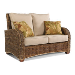 WickerParadise - Seagrass Loveseat-St. Kitts Collection - For classic comfort with a tropical twist, add this handsome love seat to your decor. Crafted of sea grass over solid wood with ample comfy cushions, it evokes a laid-back getaway vibe in your favorite setting.