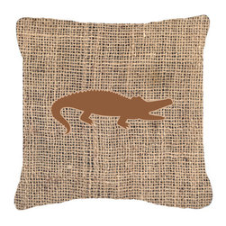 Caroline's Treasures - Alligator Burlap and Brown Fabric Decorative Pillow Bb1120 - Indoor or Outdoor pillow made of a heavy weight canvas. Has the feel of Sunbrella fabric. 14 inch x 14 inch 100% Polyester Fabric pillow Sham with pillow form. This pillow is made from our new canvas type fabric can be used Indoor or outdoor. Fade resistant, stain resistant and Machine washable.