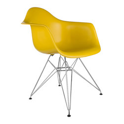 """Eiffel Arm Chair in Mustard - Some designs were ahead of their time. Considered the chair of tomorrow for both its design and its innovative single-mold manufacturing process, one of the most iconic mid-century furniture designs inspired the Eiffel Arm Chair. Created in the spirit of economy and affordability, its unique shape spreads the sitter's weight and pressure evenly. The deep seat and waterfall edge provide additional comfort as the design shapes itself around the body's curves, while the chrome eiffel-style base adds visual interest and stability. If you've done away with formality in your home, the Eiffel Arm Chair is that one piece of furniture that exemplifies the """"less is more"""" ethos. It's the ultimate seat that goes well in a variety of different settings: as a home office chair, an entryway slipper seat, or that one statement piece in the living room."""