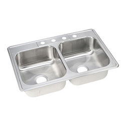 """Dayton - Elkay DSE233223  Dayton Elite Two-Bowl Sink - Elkay's DSE233223 is a Dayton Elite Two-Bowl Sink. This Dayton Elite sink is constructed of seamlessly formed 20-gauge type 301 nickel-bearing stainless steel, and can be mounted on almost any surface. This sink features a 3-1/2"""" drain opening and an 8-1/16"""" bowl depths."""
