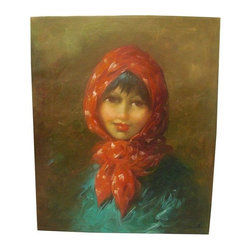 Used Vintage Painting of Young Woman in Red Scraf - The soft focus of this portrait of a young woman wearing a red scarf shows wonderful brush strokes and technique. Signed lower right.