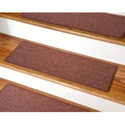 """Dean Flooring Company - Dean Non-Slip Tape Free Pet Friendly DIY Carpet Stair Treads/Rugs 27"""" x 9"""" (15) - Dean Non-Slip Tape Free Pet Friendly DIY Carpet Stair Treads/Rugs 27"""" x 9"""" (15) - Color: Copper : Quality, Stylish Carpet Stair Treads by Dean Flooring Company. Extend the life of your high traffic hardwood stairs. Reduce slips/increase traction. Cut down on track-in dirt. Great for pets and pet owners. Made in the USA from quality, long lasting stain resistant olefin carpeting with non-slip padded foam backing. Stands up great to high traffic. A fresh new look for your staircase. Do-it-yourself installation is quick and easy with our unique non-slip backing. Simply place your stair tread rugs on your staircase and go. No tapes, adhesives, staples, glue, or Velcro needed. And rest assured, they won't move and they won't damage your hardwood either. They are also simple and easy to remove as well with no sticky residue left behind. Each tread is bound with color matching binding tape. No bulky fastening strips. You may remove your treads for cleaning and re-attach them when you are done. Add a touch of warmth and style to your stairs today with new stair treads from Dean Flooring Company! We make our own stair treads at Dean Flooring Company and our products are not available from anyone else."""