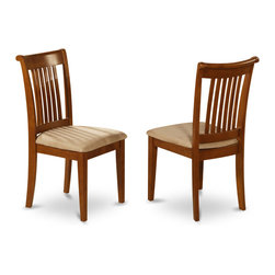 """East West Furniture - Portland Padded Seat Chair in Saddle Brown Finish - Set of 2 - Portland Padded Seat Chair Saddle Brown Finish; Solid wood dining set finished in a warm saddle brown to compliment almost any decor; Chairs are available upholstered in contrasting light fabric; Chair backs have vertical slats with scrolled tops, completing the stylish looks; Weight: 35 lbs; Dimensions: 18""""L x 17""""W x 38.5""""H"""
