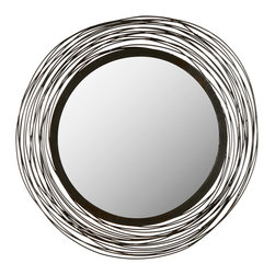 """Safavieh - Wired Wall Mirror - The Wired wall mirror delivers contemporary artistry to mod interiors. This wall accessory's iron ropes wrap the round mirror for an airy and sculptural aesthetic. 21"""" Dia; Iron and MDF"""