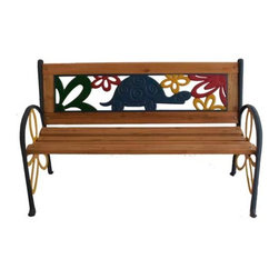 Pier Surplus - Tortoise Junior Park Bench -- Cast Iron Kids Park Bench With Resin Back #PB10015 - A park bench like this one is a point of interest in your back yard as well as a great place to enjoy your garden with your kids.