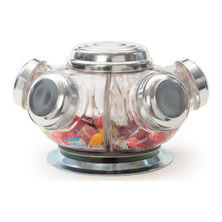 Vintage Revolving Candy Jars - Give a smile to children with this Vintage Revolving Candy Jars and place them rightly at the countertop during a mini get together. It features an innovative make and comes from our European country collection. The jar features four sided opening with a mouth on the top with easy hand access.