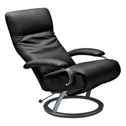 Lafer - Lafer Kiri Reclining Chair, Black - The Kiri Chair has revolutionized the look of modern home and office furnishings. Upholstered in your choice of several top grain leathers, this chair can be placed in just about any setting you desire. The ergonomic design of the chair works to alleviate back pain and can even improve one's posture. Leaving its possessor feeling refreshed and restored, this chair encompasses unique style with infinite position capabilities. The infinite position offers it occupant the ability to raise their feet above the heart, lessening the pressure on the spine and relieving the body of the muscle tension experienced after an eventful day. Within easy reach, the hand lever allows you to comfortably slide into multiple reclining positions.