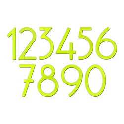 "Key Lime Contemporary House Numbers - Spice up your home's exterior with these 5""  Key Lime house numbers. Each number is sold individually and mounts from behind for a sleek, seamless look."