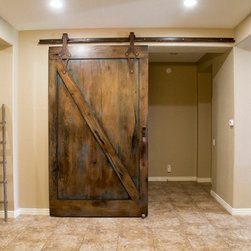 Sliding Barn Door - Tobacco Barn Brown with Ignite Finish - -Front View / Door Open-