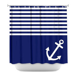 DiaNoche Designs - Shower Curtain Artistic - Navy Blue Love Anchor Nautical - DiaNoche Designs works with artists from around the world to bring unique, artistic products to decorate all aspects of your home.  Our designer Shower Curtains will be the talk of every guest to visit your bathroom!  Our Shower Curtains have Sewn reinforced holes for curtain rings, Shower Curtain Rings Not Included.  Dye Sublimation printing adheres the ink to the material for long life and durability. Machine Wash upon arrival for maximum softness. Made in USA.  Shower Curtain Rings Not Included.