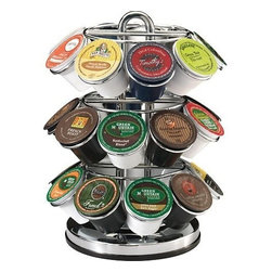 "M. BLOCK & SONS - K-cup Carousel holds 27 K Cups - Showcase your favorite coffees, teas, hot cocoa and iced beverages. The K-Cup Carousel rotates to display 27 K-Cup varieties. This chrome-plated counter piece features a lazy-Susan base for simple rotation. The sleek chrome suits all kitchen decor, and the compact design fits perfectly on any counter or regular kitchen cabinet. K-Cup portion packs are not included. Dimensions: 10.0""H x 8.0""D."