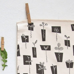 Tea Towel Sprouts in Blackboard by Skinny laMinx - Sprouts are all about freshness, new starts and springtime. This towel is adorable and cute in black and white.
