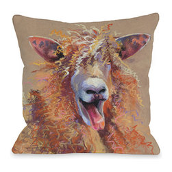 "Debbie Graviss - Throw Pillow- Party Sheep - This happy sheep on an 18"" square pillow is printed from an original pastel painting by artist Debbie Graviss and includes a hidden zipper."