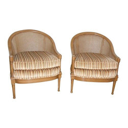 """Used Mid-Century Cane Back Barrel Chairs - A Pair - A pair of cane back Mid-Century Modern chairs in original condition.The cushions are an earth tone-yellow, brown, tan and sage green-velvet striped fabric. The cushions are in an excellent state. The chairs have had limited wear and tear over the years, so there are minor scratches on the frame, but they are overall in good vintage condition.    Seat cushion height measures 18""""."""