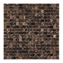 Stone & Co - Dark Emperador 5/8 x 5/8 Square Polished Marble Mosaic - Finish: Polished