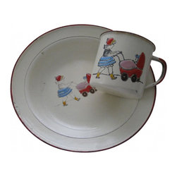 Child's Cup Dish Set - Sweet French enamelware child cup and matching plate from Belgium