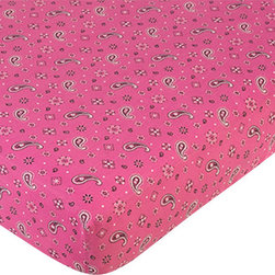 "Sweet Jojo Designs - Western Cowgirl Crib Sheet - Pink Bandana Print - The Western Cowgirl Crib Sheet - Pink Bandana Print is the perfect accessory for your Sweet Jojo Designs Crib Bedding Set. An extra sheet will always come in handy!This sheet fits standard sized cribs and toddler beds and measures 52"" x 28"" x 8""."