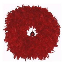 Angelic Dreamz Own Red Feather Holiday Wreath - I use these Chinese-inspired red feather wreaths in my own home for a whimsical and exotic alternative to traditional wreaths.