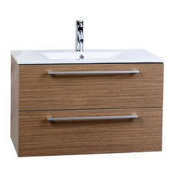 "CBI - ConceptBaths Caen 32"" Wall-Mount Modern Bathroom Vanity  Light Oak RS-DM800-LOK - A wall hung bathroom vanity is the space-saving solution with style. Ideal for compact city homes, this European styled bathroom vanity frees up valuable floor space by being mounted to the wall, resulting in a larger looking bathroom with more fuctional design. This wall hung vanity features German made scratch-resistant Light Oak finish, Grasshopper soft-closing drawers with damping technology, and a crisp clean integrated porcelain sink."