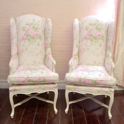 Pair of Pink and White Striped Floral Linen Armchairs with Roses - These chairs are simply too beautiful to pass up! They come newly upholstered in pink and white striped linen with floral accents. Matching piping lines the edges. The frame is wood and has been painted our signature white and lightly hand distressed. Comes with removable cushion. Elegant and perfect for any shabby chic style home! Note the tall backs!