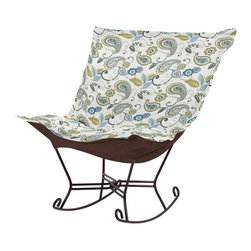 Paisley Lagoon Scroll Puff Rocker - Mahogany Frame - Nothing less than the most comfortable chair on the planet! The soft luxury and style of our Puff Collection is a great addition to any room. All Puff cushions are constructed with luxurious foam for optimal comfort. Like most HEC items, Puff cushions are removable for easy cleaning, are interchangeable between frames.