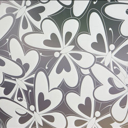 Flock Of Butterflies Privacy Window Film - 3 ft. x 4 ft. - This fully frosted adhesive designer privacy film is designed to add dimension to any space needing to block visibility through glass windows.  This sanded / frosted film is easily applied and can be removed without leaving heavy residue (in most circumstances). Perfect for shower doors, glass windows in bathrooms or bedrooms and any other location needing visual privacy.  Trims to fit many shapes & sizes of windows. The frosted privacy film is created to allow the most natural light penetration without altering the hue and color of the light source.  All films are printed with eco friendly inks and are suitable for indoor or outdoor use.   36W x 48H Fits Most Standard Household Windows