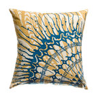 """KOKO - Water Pillow, Blue/Mustard, 18"""" x 18"""" - This is a fresh take on an ocean theme. That beautifully embroidered sea creature adds a lovely layer of color and movement. Pair with with more shades of blue for a refreshing beach look."""