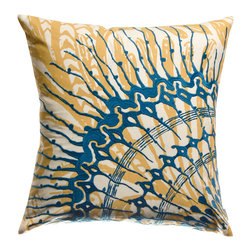 "KOKO - Water Pillow, Blue/Mustard, 18"" x 18"" - This is a fresh take on an ocean theme. That beautifully embroidered sea creature adds a lovely layer of color and movement. Pair with with more shades of blue for a refreshing beach look."