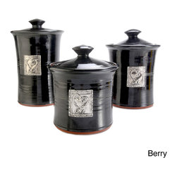 Phat Tommy - Artisans Domestic 3-piece Gourmet Canister Set with Heart Accents - This three-piece ceramic canister set is truly a work of art. Each piece is handcrafted with meticulous attention to detail.