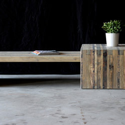 bento coffee table - the nesting bento coffee table set, pictured in the aged wood finish, and aged wood and darkened steel finishes combined, brings our bento collection into your living room. with several configuration options, it's flexible enough to fit any space, and its rugged construction will keep your guests from hesitating about putting their feet up.