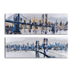 City suspensions Hand Painted 2 Piece Canvas Set - If you're always dreaming of life in the big city, you'll love this set of iconic cityscapes. This canvas set has been painted and hand stretched over wood frames for a beautifully artistic look. Hang them in your living room or office for a touch of urban whimsy.