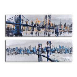 """City Suspensions"" Hand-Painted 2-Piece Canvas Set"