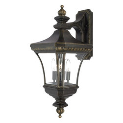Quoizel - Quoizel Devon Traditional Outdoor Wall Sconce X-BI1698ED - From the Devon Collection, European inspired elegance draws the eye in and creates a beautiful focal point on this Quoizel Lighting outdoor wall sconce. It features three candelabra style lights housed behind multiple clear beveled glass panels. A stylish imperial bronze finish pulls the look together.