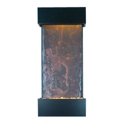 Bluworld - Medium Nojoqui Falls NSI Lightweight Slate Fountain, Black Onyx - This smaller lightweight version of the original Large Nojoqui Falls wall fountain is named after the beautiful 164 foot tall Nojoqui Falls waterfall, located in central California where the Water Wonders line was originated. These water fountains are a truly unique, engaging and an elegant addition to any indoor space. Redesigned, the Medium Nojoqui Falls fountain includes long-lasting super bright white LED lights rated for over 10,000 hours of use and an ergonomic finger slide remote control to easily dim or brighten the LED lights or turn them on and off. This water fountain glistens as water sheets over the genuine multi-color Indian Rajah Slate flowing past polished river rock creating a soothing sound and beautiful focal point for any room. This fountain is engineered with Bluworlds clog-free, splash-free design and features the Water Wonders NSI genuine light weight Slate. Installation is super easy with the lightweight nature of the NSI slate panels. Simply hang on the wall per the instructions.