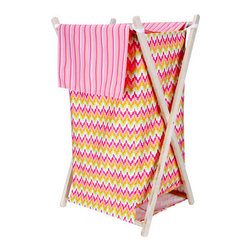 "Trend Lab - Hamper Set - Savannah - The Savannah Hamper by Trend Lab is a decorative solution for quick clean up. The cotton chevron print body and stripe print outer flap easily attaches to the collapsible pine wood frame. The fashionable color palette of paradise and petal pink, tiger orange, chartreuse green, and white make this hamper suitable for any room of the house. Machine washable inner mesh liner is removable making the transport of laundry effortless. Assembled hamper measures 27"" x 15"" x 15"". This hamper coordinates with the Savannah collection."