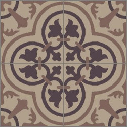 Granada Tile - Tile Sample Cluny 888 A - The elegant curves of the Cluny 888 A in brown tones works perfectly with wooden antiques.
