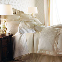 SFERRA - SFERRA Scroll-Pattern Queen Duvet Cover - Serenity slips in by way of a calming palette of white and ivory with subtle detailing to keep it interesting. We began with a jacquard-woven scroll pattern on sateen duvet covers and shams, all finished with hemstitch details, then added diamond-patter...