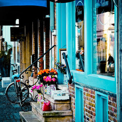 Antiek Shoppe-Brugge Belgium, Fine Art Photography Print, 8X12 - This photo was taken in Brugge, Belgium April 2012.  Love the pops of turquoise, and the pops of orange and hot pink in the flowers!