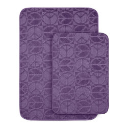 Sands Rug - Peace & Love Bath Rug (Set of 2) - Protect young toes and add comfort and color to your child's or pre-teen's bath with these fun, durable and machine washable bath rugs. The polypropylene fabric is stain-resistant and soft, while the non-skid rubber backing holds rugs in place for safety.