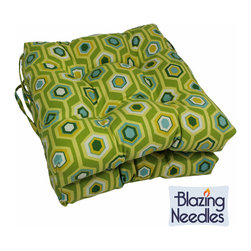 Blazing Needles - Blazing Needles 16x16-inch Squared Outdoor Spun Polyester Chair Cushions (Set of - Add a touch of style and comfort to your outdoor furnishings with the Blazing Needles Set of two 16x16-inch Squared Outdoor Chair Cushions,featuring a classic tufted cushion style and eighteen varieties of patterned outdoor fabric.